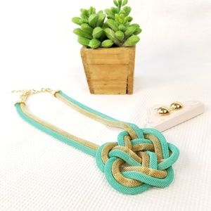 Jewelry - Pretzel Knot Snake Chain Set Gold Turquoise 3061